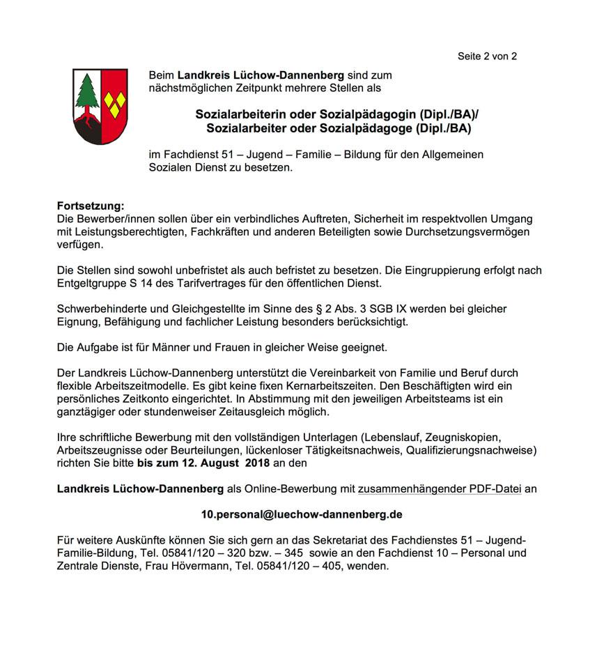 Jobs aus der EJZ | Juli 2018 | Jobs im Wendland